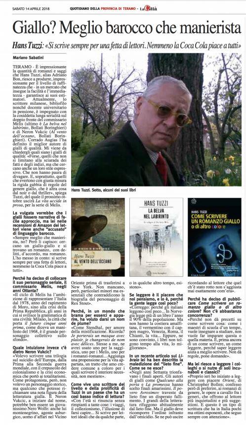 Hans Tuzzi Intervista Quotidiano Della Provincia Di Teramo